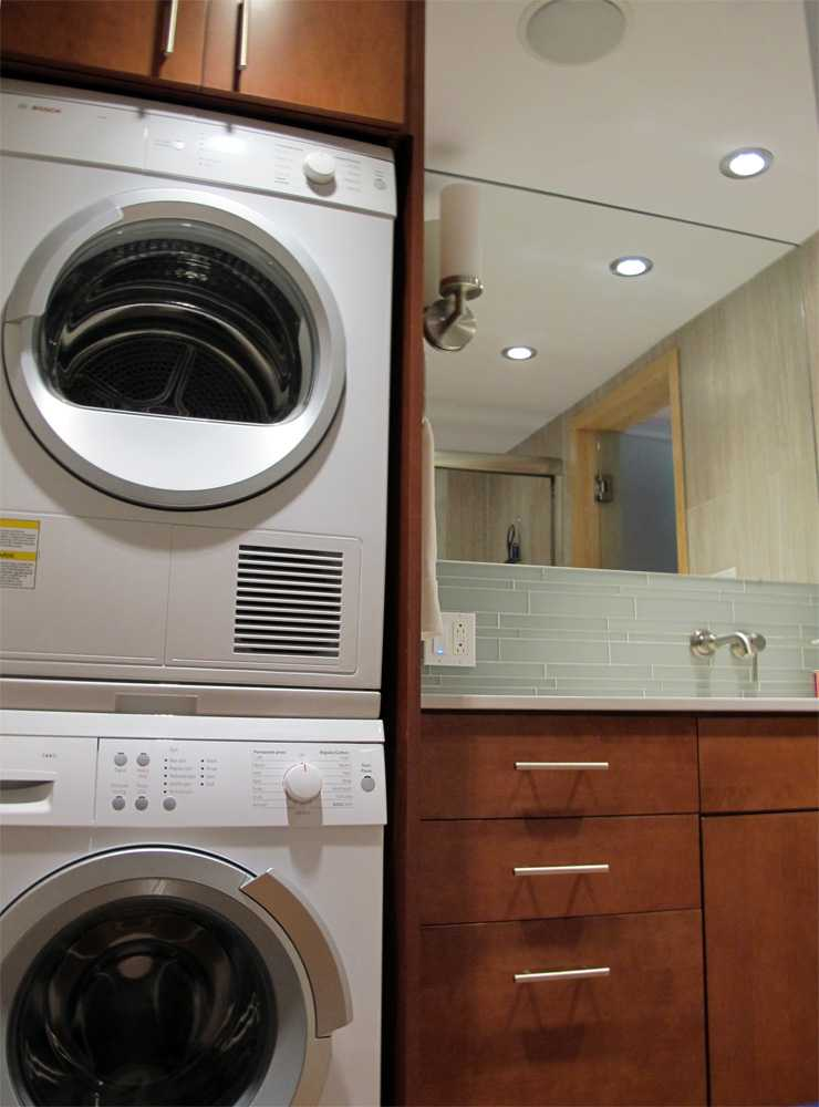 close up of washer dryer